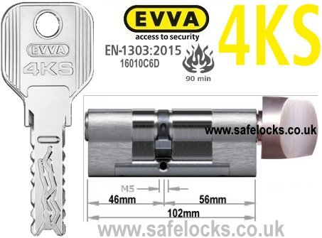 Evva 4KS 46/T56 Key & Turn BS-EN1303 2015 Thumbturn Euro cylinder lock
